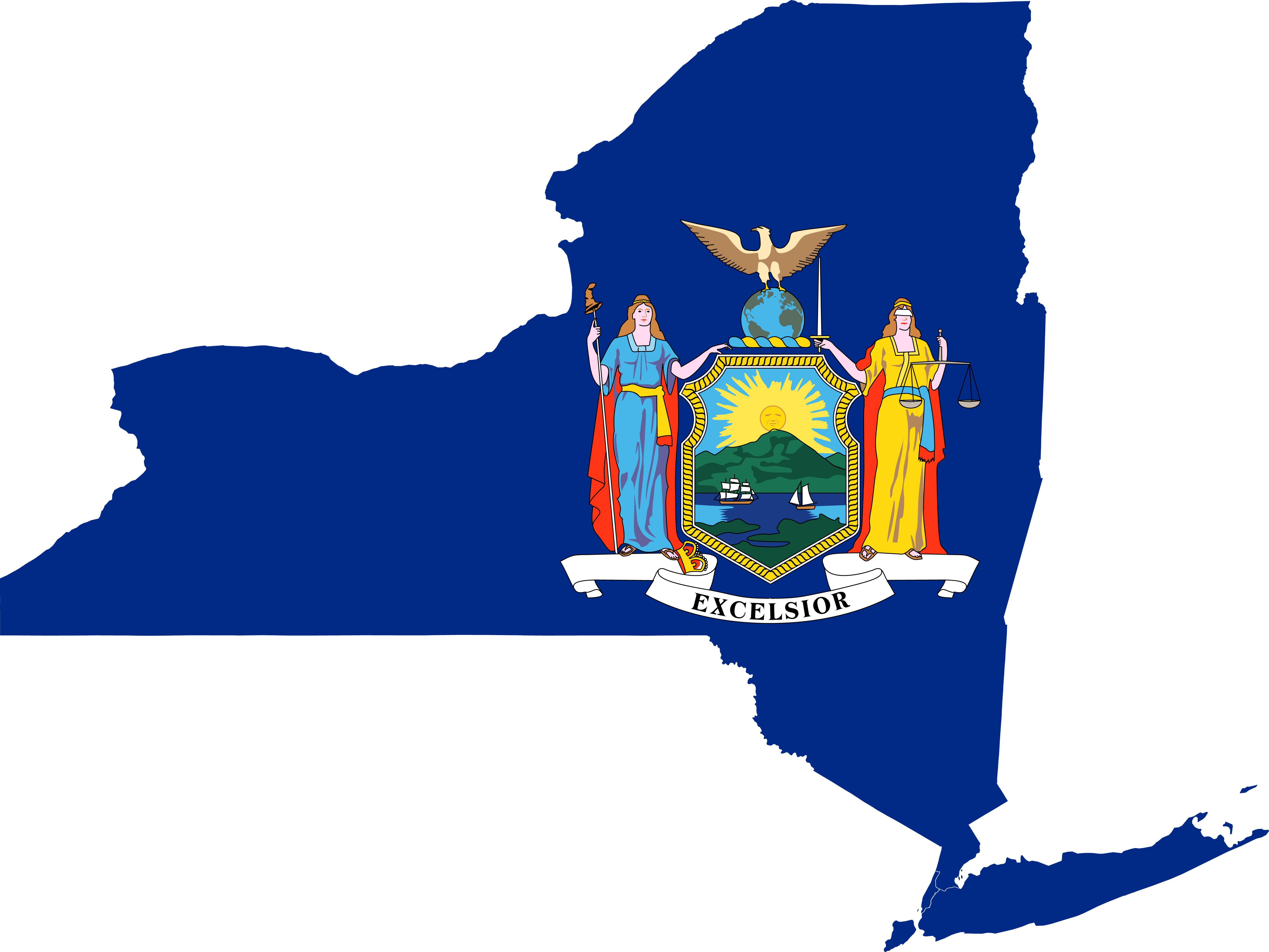 new york state map flag