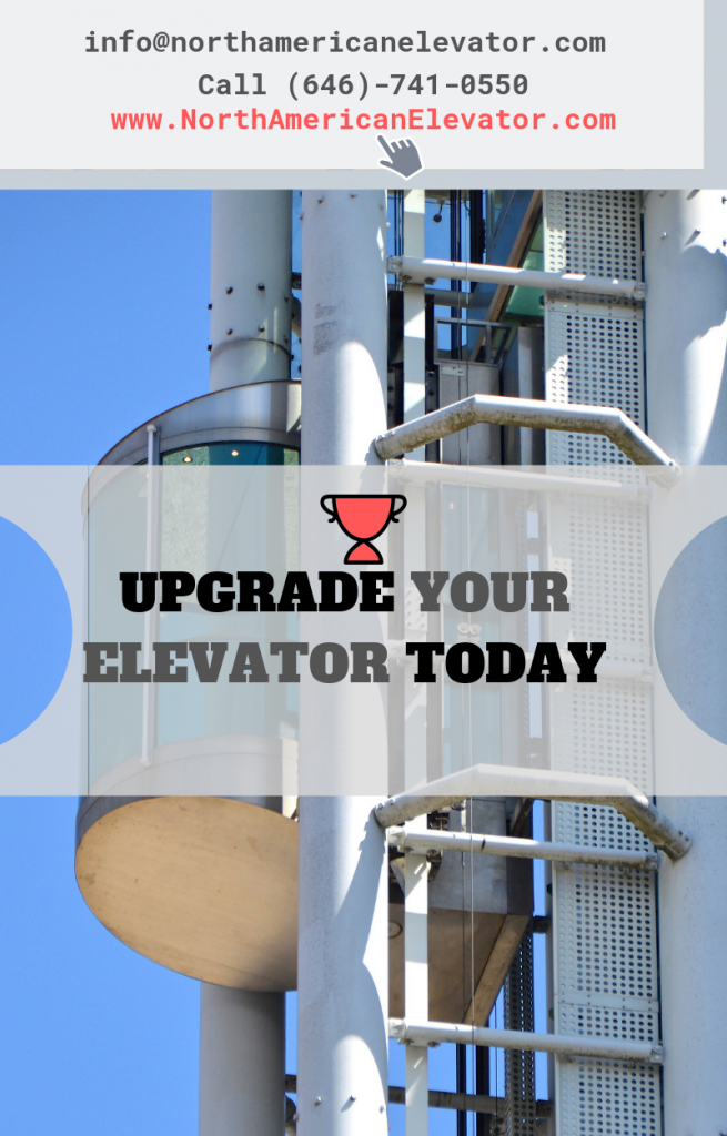 elevator modernization services with modern elevator in background